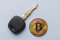 Bitcoin coins and key. Network security concept