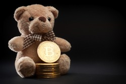 Bitcoin crypto currency coins and teddy bear toy, isolated on black background, bear market concept, financial risk and danger, value decline and fall, copy space