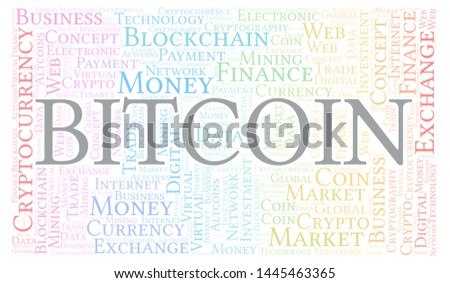 Bitcoin cryptocurrency coin word cloud. Word cloud made with text only.