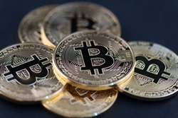 Bitcoin Cryptocurrency Coins. Stock Market Concept.BTC Cryptocurrency Bitcoin