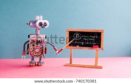 Bitcoin cryptocurrency digital money concept. Robot professor explains electronic mining cash financial system. Classroom interior with handwritten quote chalkboard. Blue pink colorful background. Stock foto ©