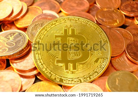 Bitcoin cryptocurrency on table and digital currency money concept, crypto market, cryptocurrency financial systems concept, Golden coin background