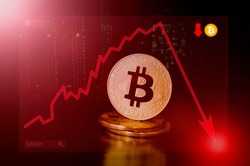 Bitcoin. Dangers and risks of investing to bitcoin, speculation. Negative tendency. Index in the red zone.