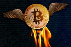Bitcoin e-cryptocurrency with wings flies in blue sky with clouds, peer-to-peer payment system, concept of rise and fall of course