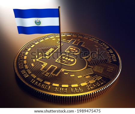 Bitcoin: El Salvador makes cryptocurrency legal tender. 3D Illustration.