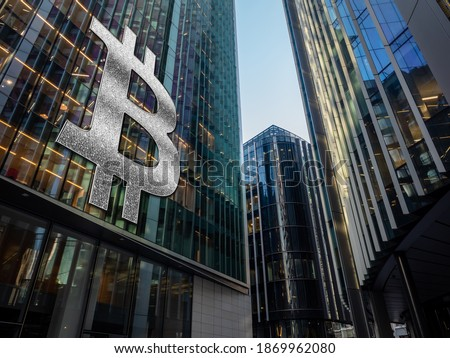 Bitcoin entering mass adoption of hedge funds, family offices, pension funds, VC capital, financial institutions and banks with a backdrop of corporate skyscrapers and office blocks.