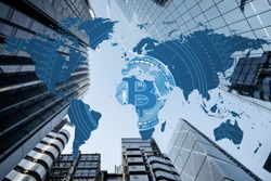 Bitcoin entering mass adoption of hedge funds, family offices, pension funds, Venture capital, financial institutions and banks with a backdrop of world map and corporate business skyscrapers. HODL