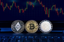Bitcoin, Ethereum, Binance Symbol Cryptocurrency Coin on Computer graph background