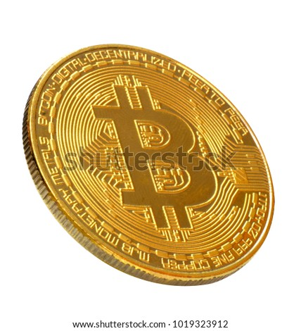 Bitcoin. Golden bitcoin isolated on white background., clipping path.