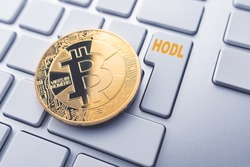 Bitcoin hodl concept. Toned soft focus picture. Conceptual image for worldwide cryptocurrency and digital payment system.