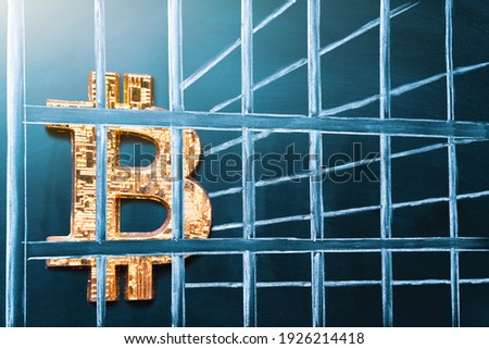 Bitcoin in prison. Concept of arrest, fraud and deception with cryptocurrency and mining. Bitcoin ban, imprison or illegal. Big troubles for bitcoin. Сток-фото ©