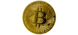 Bitcoin isolated on white background. Cryptocurrency - photo of golden bitcoin physical gold coin. Symbol of the crypto currency.