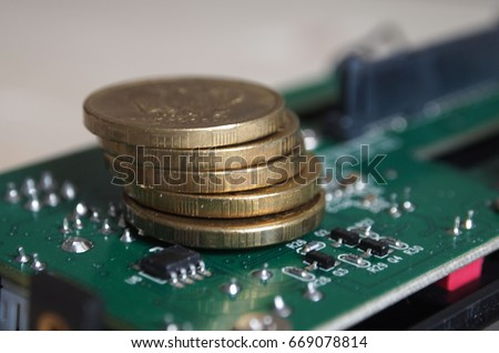 Bitcoin on motherboard Zdjęcia stock ©