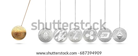 Bitcoin on Newton's cradle boosts and accelerates other cryptocurrencies and back and forth. Cryptocurrencies boosting prices one another concept. 3D rendering.