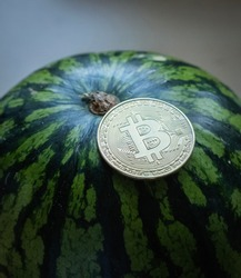 Bitcoin on top of a watermelon