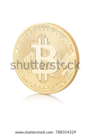 Bitcoin. Physical bit coin. Digital currency. Cryptocurrency. Golden coin with bitcoin symbol on white background with reflection #788354329