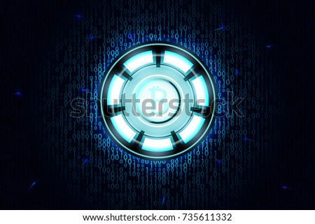 Bitcoin power source logo on binary code blue background. Abstract technology background.