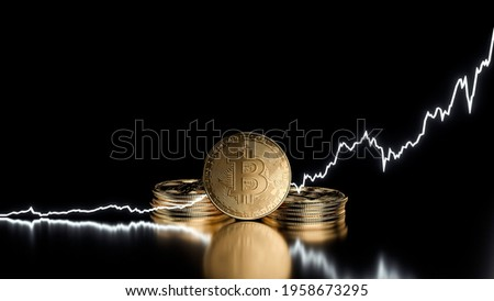 Bitcoin Price Increase. Golden Bitcoin Coins And Price Up Diagram. Bitcoin Price Going Up Isolated On The Black Background - 3D Illustration