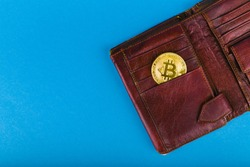 Bitcoin purchase concept. Bitcoin purchase concept. Place for an inscription. Bitcoin and wallet. Bitcoin Conservation