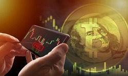 Bitcoin sale. Investor sells bitcoin via telephone. Applications for investing in cryptocurrencies. Bitcoin value drops. Charts show drop in value. Investor clicks sell button. Cryptocurrency market