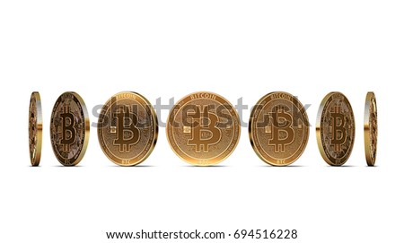 Bitcoin shown from seven angles isolated on white background. Easy to cut out and use particular coin angle. 3D rendering