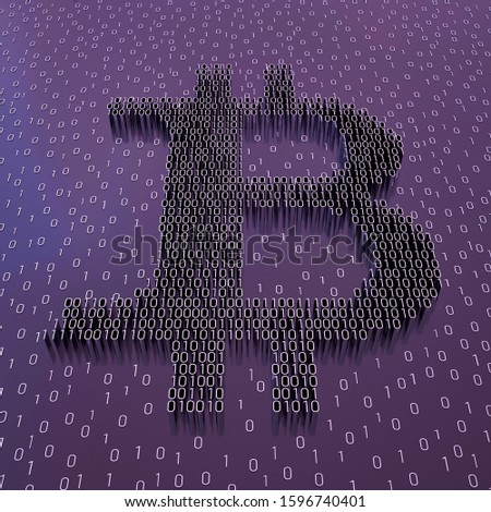 Bitcoin sign and binary code perspective view; digital currency symbol with digits 1 and 0 on purple background; block chain concept; 3D rendering