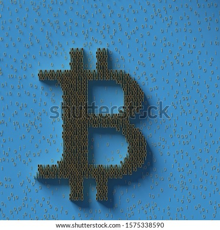 Bitcoin sign of binary code number; digital currency symbol with golden digits 1 and 0 on blue background; illustration