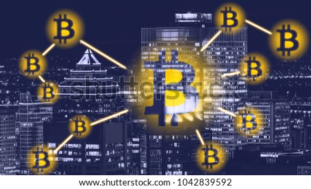 Photo of Bitcoin sign on city background -  Montreal. Bitcoin and blockchain technology concept. Bitcoin network with a bitcoin sign on the urban background. Blockchain, cryptocurrencies and bitcoins concept.