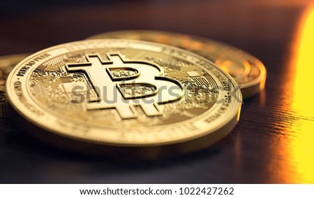 Bitcoin stack in blurry close-up shot with flames reflection on the background. The decline of Bitcoin concept. 3D rendering
