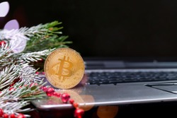 Bitcoin stands on the keyboard of a laptop with a snow branch of a Christmas tree and red beads, a black screen in the background. Cryptocurrency. Christmas