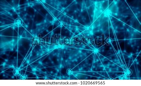 Bitcoin Symbol Blockchain Abstract Illustration Blurred Background