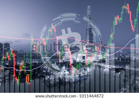 bitcoin trading exchange stock market investment, forex with trend of graph, price and candle stick chart, 3D illustration of stock crypto currency analysis graph
