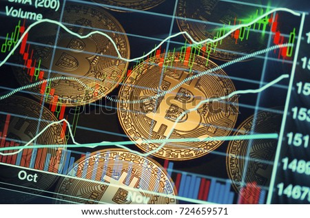 bitcoin trading market data chart. virtual cryptocurrency concept