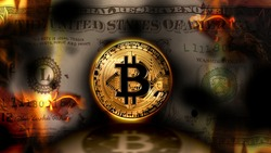 Bitcoin vs dollar, United States banknote dollar burning on the background, conceptual crypto currency finance market,