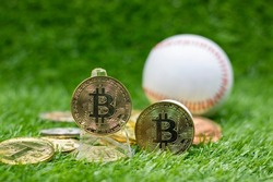 Bitcoin with baseball background is on green grass