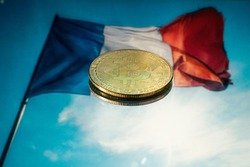 Bitcoin with the French flag as a background, France, europe, BTC