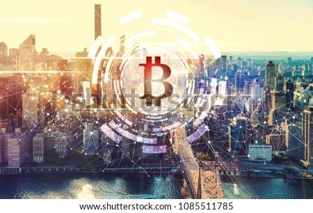 Bitcoin with the New York City skyline near Midtown #1085511785