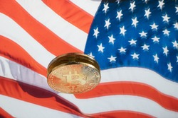 Bitcoin with the US Flag as a background