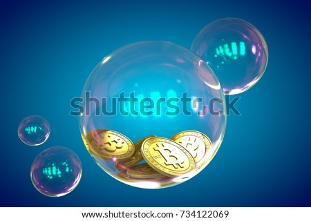 Bitcoins in a soap bubble on blue background. Unstable bitcoin concept. 3d render