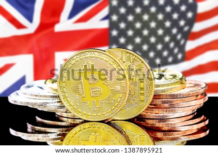 Bitcoins on the background of the flag United Kingdom and United States of America. Concept for investors in cryptocurrency and Blockchain technology in the United Kingdom and United States. #1387895921