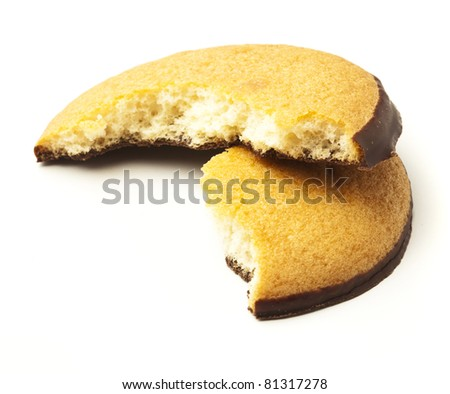 bite chocolate biscuit isolated on a white background