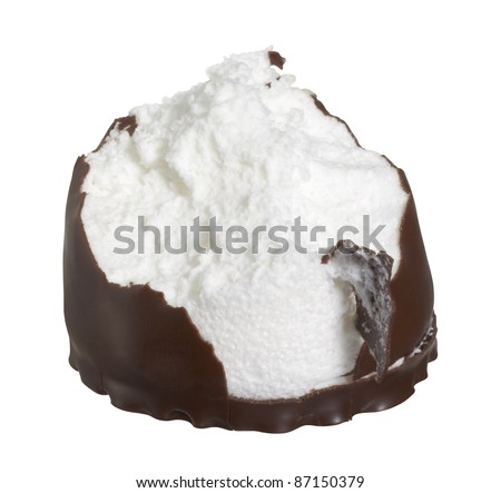 bite chocolate coated marshmallow in white back