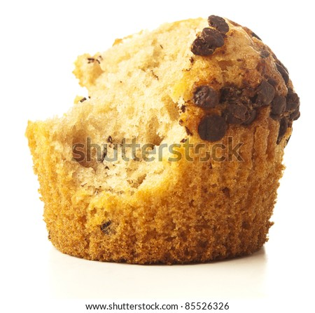 bite chocolate muffin isolated on a white background