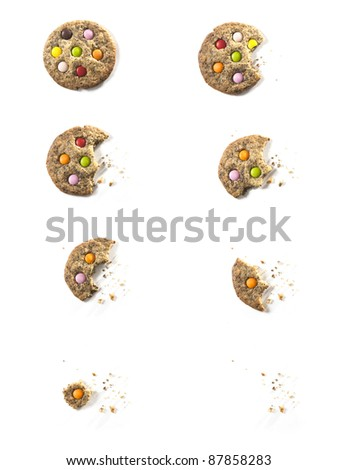 Bites of Chocolate candy Cookie with crumbs