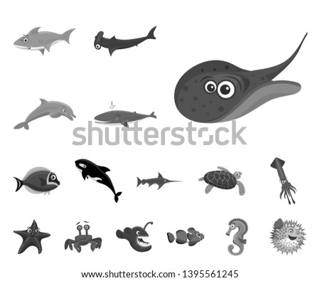 bitmap design of sea and animal icon. Collection of sea and marine stock bitmap illustration.