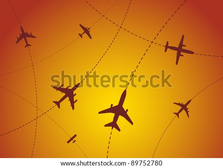 Bitmap Illustration of Airplane Routes at Sunset