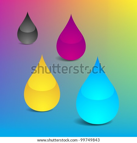 Bitmap Illustration of Four Drops With Offset Printing Colors