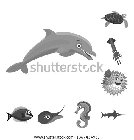 bitmap illustration of sea and animal icon. Set of sea and marine bitmap icon for stock.