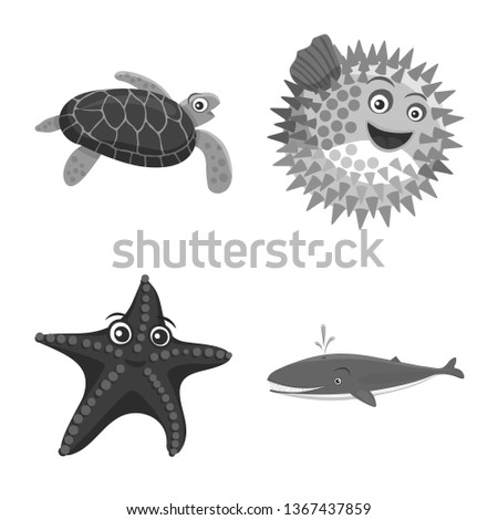 bitmap illustration of sea and animal logo. Set of sea and marine stock bitmap illustration.
