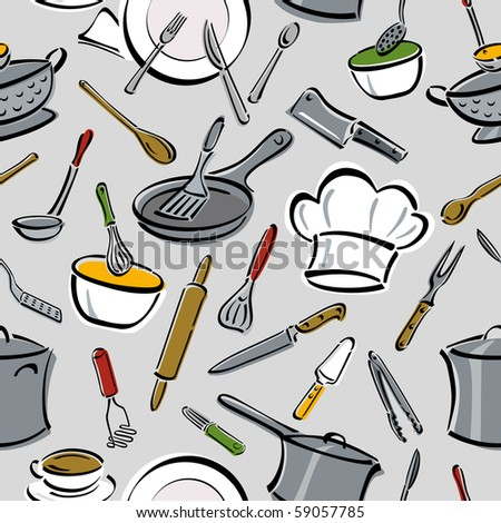 Bitmap seamless pattern of kitchen tools.